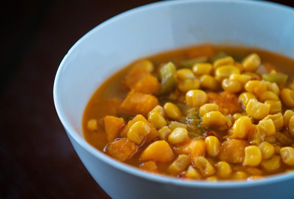 Slow Cooker Corn + Sweet Potato Chowder