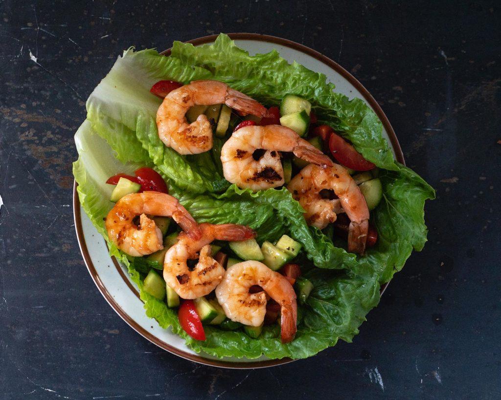 Grilled BBQ Shrimp Lettuce Boats