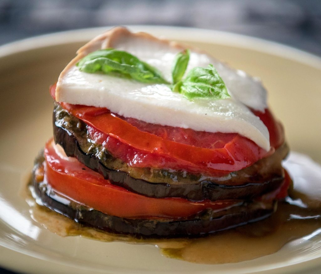 Grilled Eggplant and Tomato Stacks