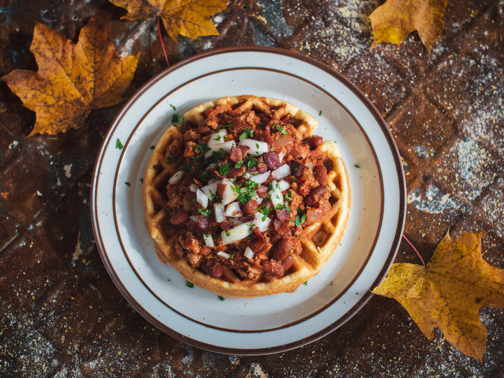 Maple Bacon Bourbon Chili on Cornbread Waffle